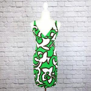 Milly green white brown v-neck sleeveless dress